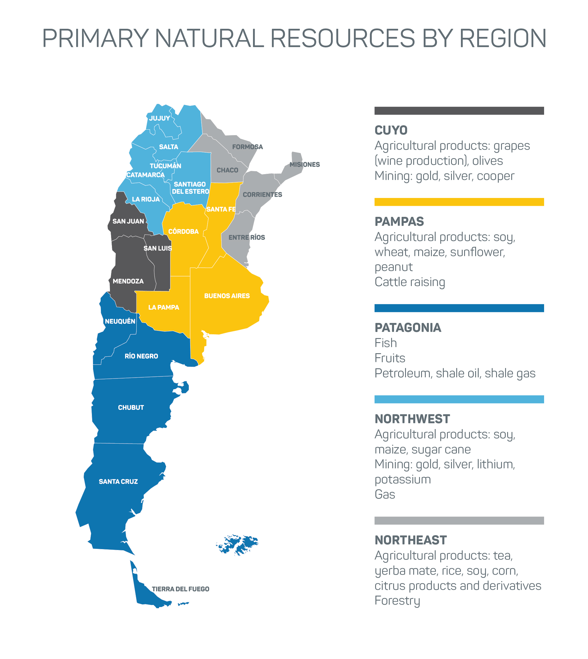 Argentina Investment And Trade Promotion Agency - Argentina agriculture map